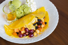 Pancake and fruit with ice cream Royalty Free Stock Images