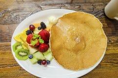 Pancake with fruit Royalty Free Stock Photo