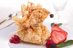 Pancake and fruits Royalty Free Stock Images
