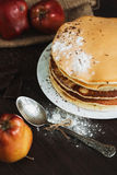 Pancake with fruits and berries on plate on table close up Royalty Free Stock Image