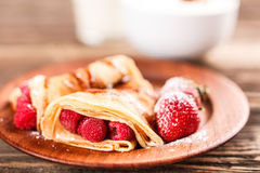 Pancake with fruits Stock Photo