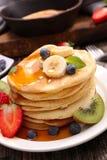 Pancake and fruits Royalty Free Stock Photos