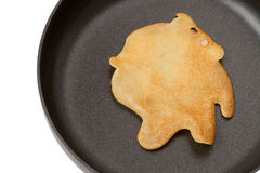 Pancake in a frying pan Royalty Free Stock Image