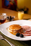 Pancake and ham breakfast Stock Photo