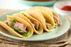 Pancake with ham and seaweed Stock Images