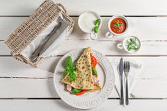 Pancake with ham and vegetables Stock Images