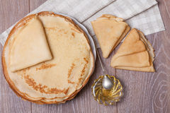 Pancake with honey Royalty Free Stock Photo