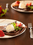 Pancake with ice cream Royalty Free Stock Images