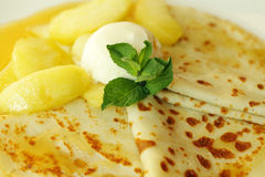 Pancake with ice cream Stock Images
