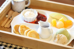 Pancake with icecream and fruit Stock Image