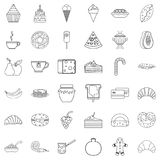 Pancake icons set, outline style Royalty Free Stock Photography