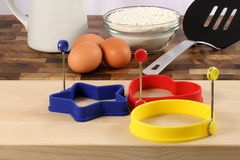 Pancake ingredients and kitchen utensils Stock Photos