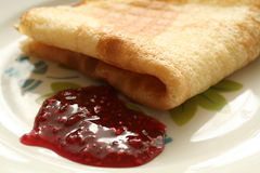 Pancake with jam Stock Photo