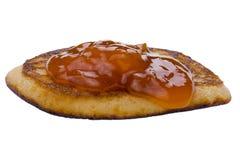 Pancake with jam macro Stock Image