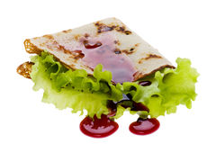Pancake with jam on white Stock Images