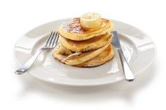 Pancake lanuginosi di ricotta con la banana Fotografia Stock Libera da Diritti