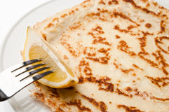 Pancake With Lemon Royalty Free Stock Photography