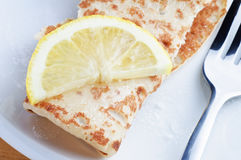 Pancake with Lemon Slice and Sugar Royalty Free Stock Images