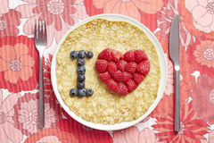 Pancake with love heart shape Royalty Free Stock Photo
