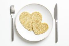Pancake love heart shape royalty free stock image