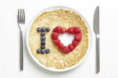 Pancake with love heart shape Stock Photo