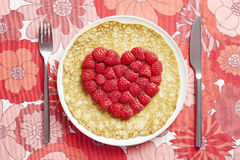 Pancake with love heart shape Royalty Free Stock Photography