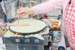 Pancake made by a street vendor Stock Photo