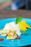 Pancake with mango. On table wood Royalty Free Stock Photo