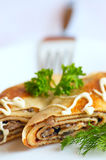 Pancake with mushroom Royalty Free Stock Images
