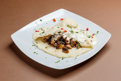 Pancake with mushroom Stock Image