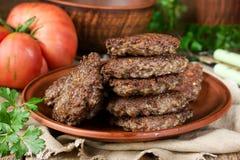 Pancake o cotolette fritti del fegato immagini stock libere da diritti