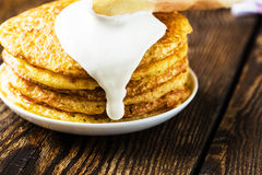 Pancake. Pancakes stack, traditional Russian pancakes - blini Royalty Free Stock Photo