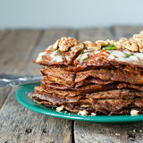 Pancake Pie from Liver with Walnuts Cutting Royalty Free Stock Photography