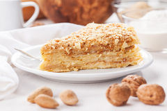 Pancake pie with nuts Stock Image