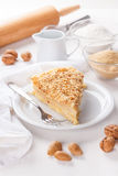 Pancake pie with nuts Stock Images