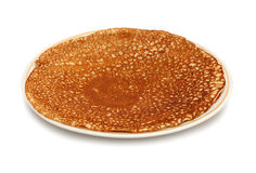 Pancake on plate. One pancake on plate - russian traditional food Royalty Free Stock Image