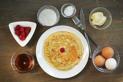 Pancake preparation stock photo