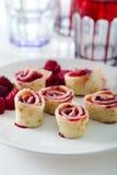 Pancake with raspberries Stock Photo