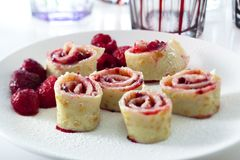 Pancake with raspberries Royalty Free Stock Photos