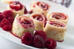 Pancake with raspberries Royalty Free Stock Photography