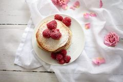 Pancake with raspberries stock images