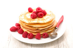 Pancake with raspberry Royalty Free Stock Image