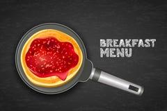 Pancake with raspberry jam on pan, vector realistic illustration. Top view food. Design for breakfast dessert menu Stock Image