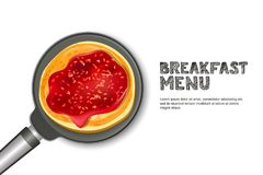 Pancake with raspberry jam on pan, vector realistic illustration. Top view food. Design for breakfast dessert menu. Tasty pancake with raspberry jam on pan Royalty Free Stock Image