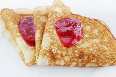 Pancake with raspberry jam Stock Image