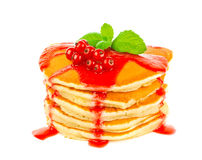 Pancake with red currant sauce and mint Royalty Free Stock Image