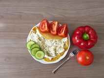 Pancake with ricotta and oregano with vegetables Stock Photos