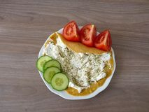 Pancake with ricotta and oregano with vegetables Royalty Free Stock Photos