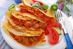 Pancake riempiti di carne tritata e di verdure Immagini Stock Libere da Diritti