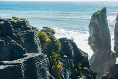Pancake rock canyon at western coast in New Zealand. 's South Island Stock Image